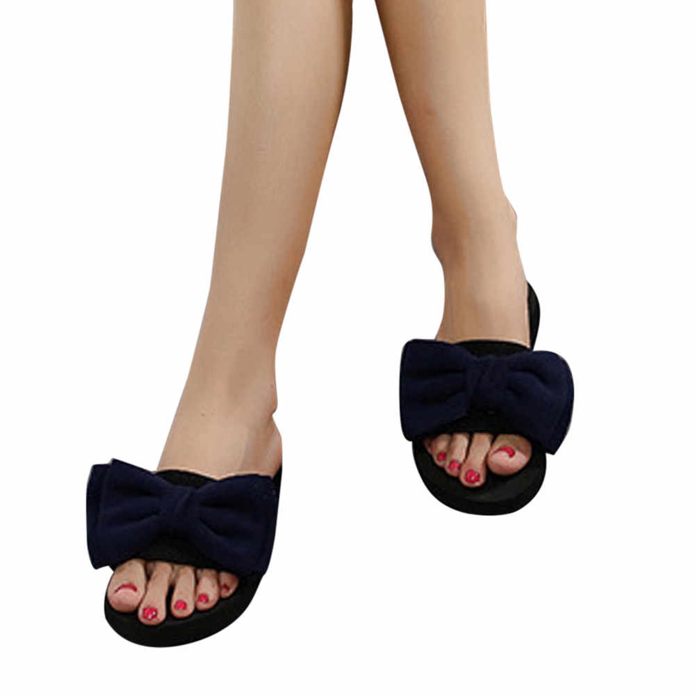 a3956646d79 ... 2018 Women Bow Summer Sandals Slippers Feminino Flip-flops Beach Shoes  Women Pearl Fashion Slippers ...