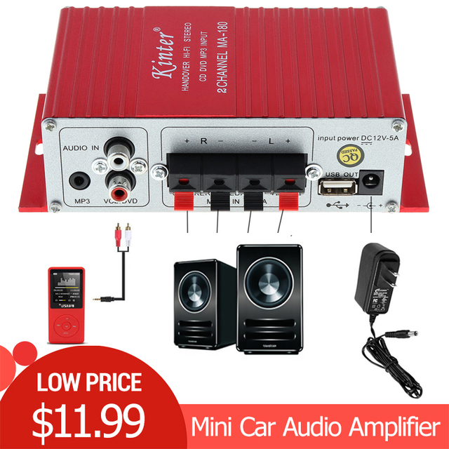 Kinter MA-180 Mini USB Car Audio Amplifier 2CH Stereo HIFI Amplifier for Boat Amp:Red 12V Auto Power Amplifiers