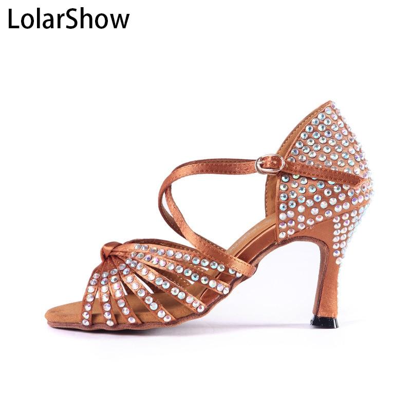 Chaussures de danse de salon chaussures Salsa Tango talons en Satin chaussures de danse latine classique femmes