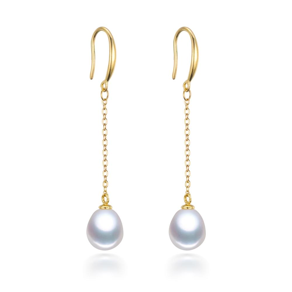 real natural long drop dangle pearl earrings 925 sterling silver 18k gold plated dangling pearl earrings gold pearl jewelry gold plated stone asymmetry dangle earrings