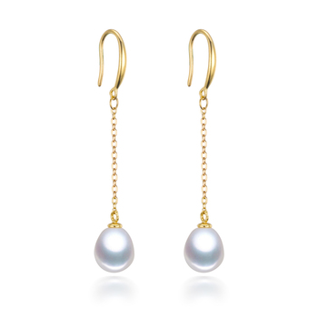SNH 8mm drop 100% real natural pearl earrings for women,white freshwater pearl earrings jewelry wedding birthday gift  earrings