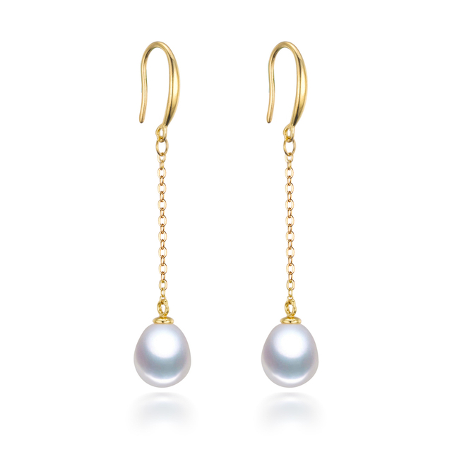 Real Natural Long Drop Dangle Pearl Earrings 925 Sterling Silver 18k Gold Plated Dangling