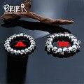 Beier pulseira new design aço inoxidável 316l legal do crânio do punk homens pulseira do vintage jóias bc8-027