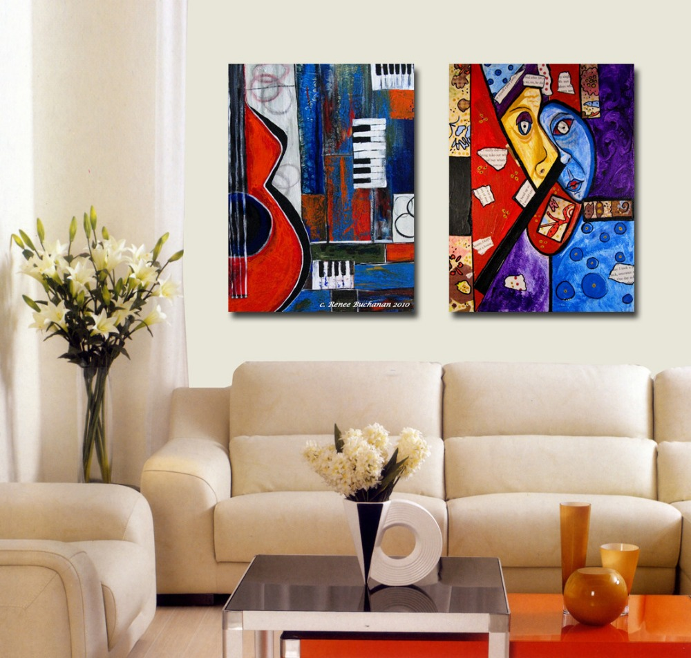 2pcs home decor picasso style abstract top rated for Best wall decor for living room