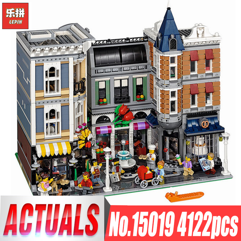 Lepin 15019 MOC Creative Series 4002pcs Assembly Square Set Building Blocks Bricks Funny Toy Compitable legoing 10255 Model Toys in stock with light 15019b 4122pcs lepin 15019 4002pcs assembly square city serie model building kits brick toy compatible 10255