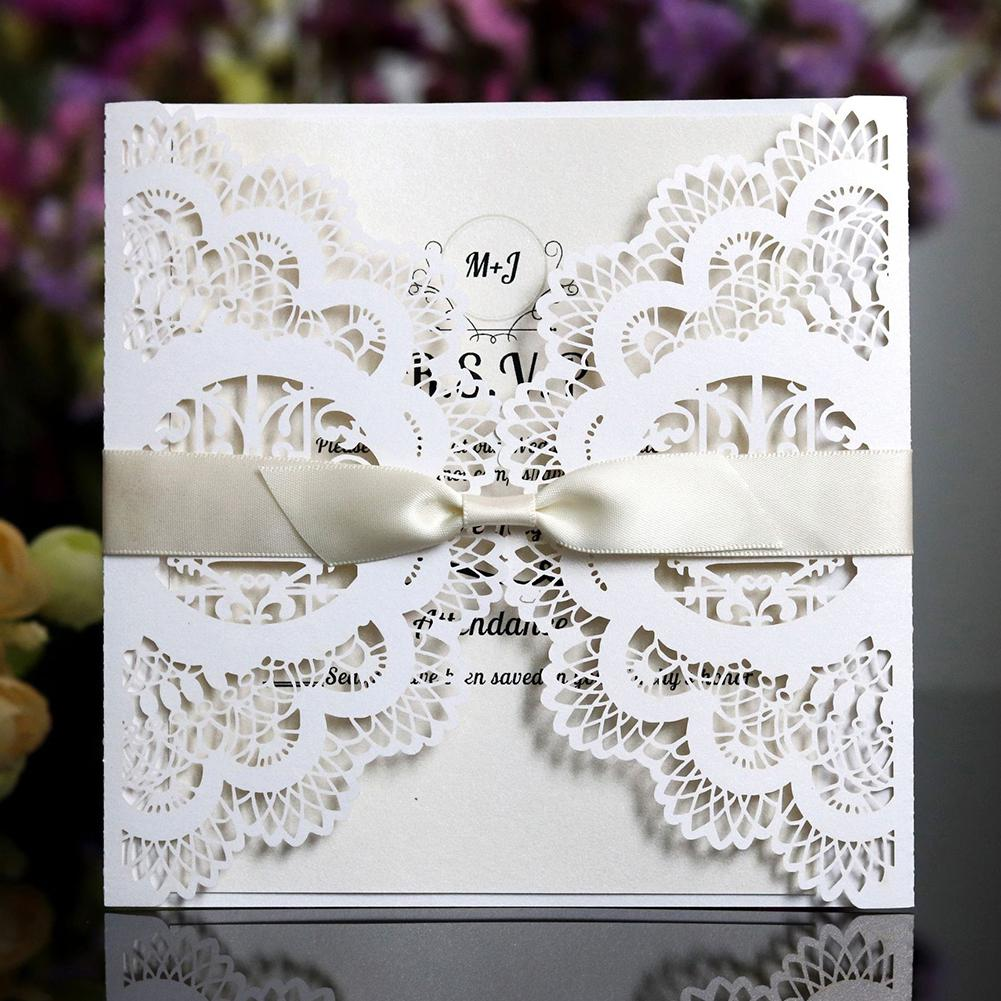 MeterMall 50Pcs/Set Hollow out Invitation Letter Greeting Card for Wedding