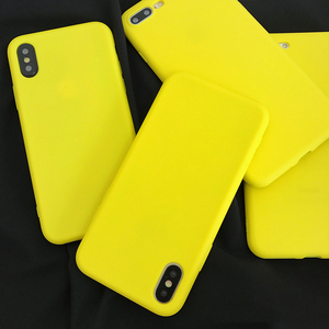 LOVECOM Phone Case For iPhone 11 Pro Max 6 6S 7 8 Plus X Lemon Yellow Candy Colors Soft TPU Phone Back Cover Case Shell(China)