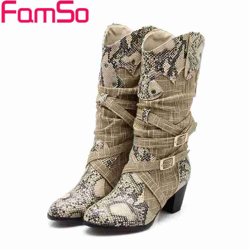 Free shipping 2016 New Sexy font b Women b font Boots High Thick Heels Pumps Half