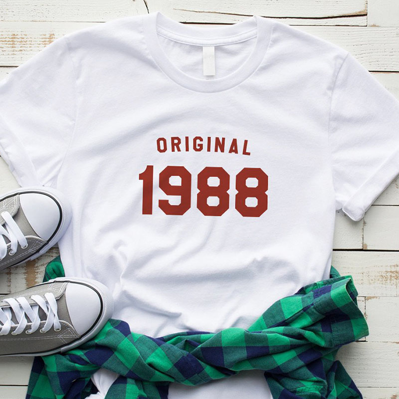 30th Birthday T-shirt Women Fashion Original 1988 Tshirt Cotton Causal Women Shirts 2018 Vintage Tee Top Drop Shipping