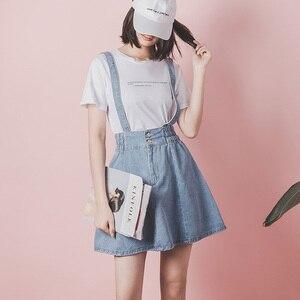 Image 2 - נשים גבוהה מותן ביריות ינס חצאיות מתכוונן רצועת אונליין מיני ג ינס חצאית בתוספת גודל אלסטי תלמיד סוודרים כולל חצאיות
