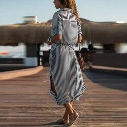 Kobiety na co dzień Sukienka w paski drukowane długie rękawy luźne przycisk bandaż pas koszulka długa Sukienka vestidos moda Sukienka 2