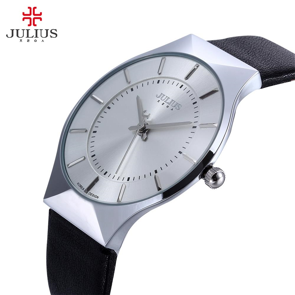 New Fashion Top Luxury brand JULIUS Watches Men Quartz-watch Leather strap Ultra thin Dial Casual Clock Man Relogio masculino fashion watch top luxury brand watches men stainless steel strap quartz watch ultra thin dial clock man relogio masculino