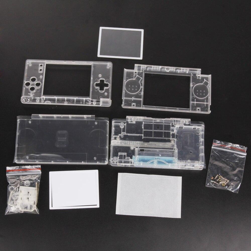 교체 게임 패드 닌텐도 DS 라이트 하우징 쉘 스크린 렌즈에 대한 케이스 쉘 닌텐도 DSL dsl에 대한 크리스탈 지우기 전체 주택