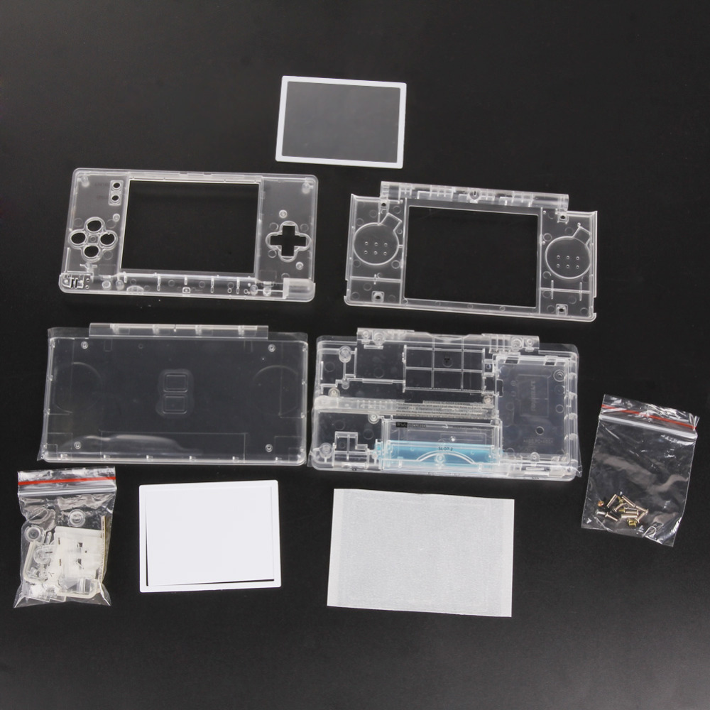 Replacement Game Pads Case Shell For Nintend DS Lite Housing Shell Screen Lens Crystal Clear Full Housing For Nintendo DSL DSL
