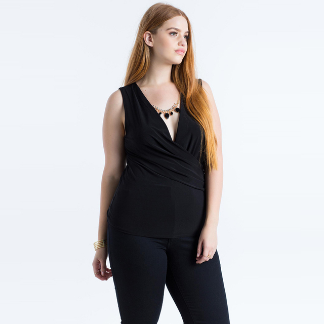 965d086a7eca Plus size 5xl women new fashion sexy summer deep V neck cross simple silm tanks  tops
