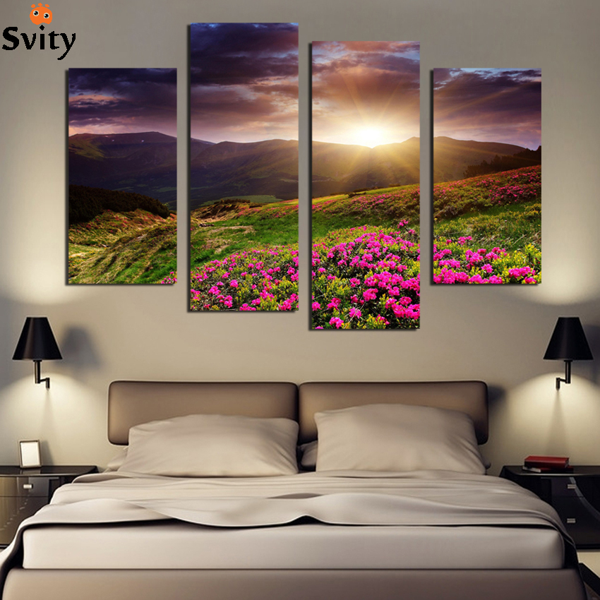 4 PCS Modern wall art home decoration printed painting canvas prints frameless flower field sunrise landscape For Living Room