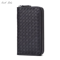 New genuine leather wallet large capacity woven wallet bag double zippers cowhide knitted bag wallet