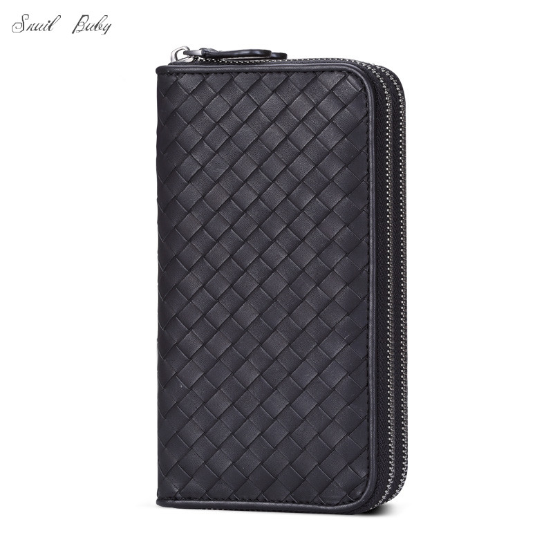 New genuine leather wallet large capacity woven wallet bag double zippers cowhide knitted bag walletNew genuine leather wallet large capacity woven wallet bag double zippers cowhide knitted bag wallet