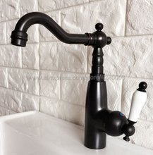 Black Oil Rubbed Brass Swivel Spout Single Handle Bathroom Sink Vessel Faucet Basin Mixer Tap Knf373 все цены