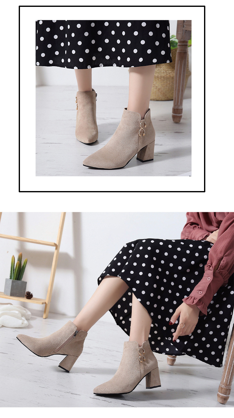 2019 Spring Autumn Women Boots New Fashion Casual Ladies Flock Short Boots Female Middle Heeled Boots M8D261 (8)