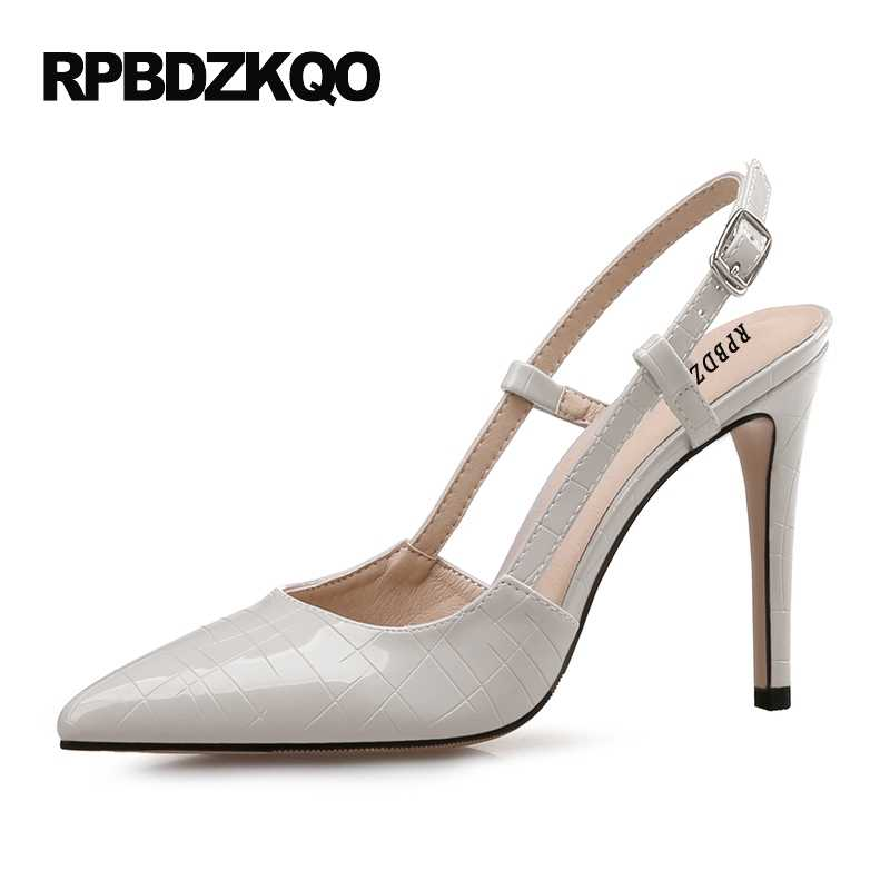28ce1ee98bd White Discount Crossdresser Slingback Ultra 10 42 Extreme High Heels  Pointed Toe Super Big Size Strap Pumps Sandals Luxury Brand