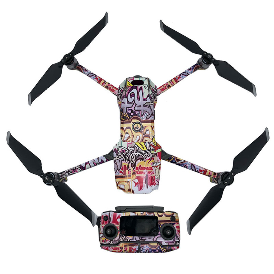 Graffiti Decal Skins Kit For DJI Mavic 2 Pro/ Mavic 2 Zoom Remote Control Body Arm And 3 Batteries Full Set Stickers