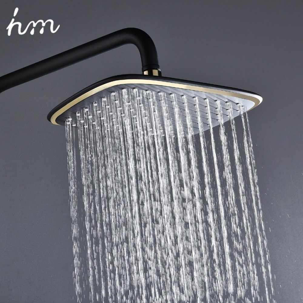 Hm สีดำ Rainfall Thermostatic ก๊อกน้ำชุดเดี่ยวทองเหลืองวาล์วผสม Rack อาบน้ำผสม Rack ชุดฝักบัว