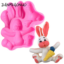 3D Lovely Rabbit Cake Silicone Mold Fondant Cake Decorating Tools Chocolate Gumpaste Mold Baking Tools For Cakes Silicone Muffin цена и фото