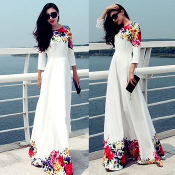 Flower Print Maxi High Waist Long A-Line Slim Women Dress