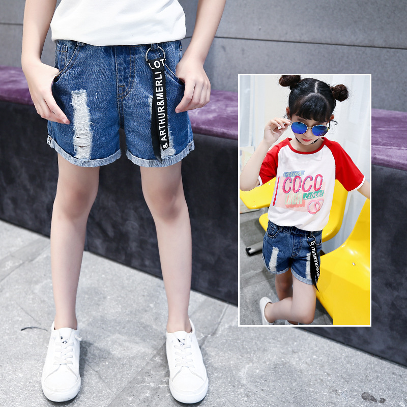 New Summer Girls Denim Shorts Broken Hole Big kids Girls Cowboy short Pants Fashion Casual Solid