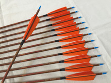 Free shipping Wood skin Carbon arrow ID6.2mm Spine500 with 5″ Turkey feather fletching and pin Nock for traditional bow archery