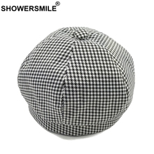 SHOWERSMILE White Berets Hat Women Cotton Houndstooth Flat Caps Female Plaid Casual Painters Cute Autumn French Artist
