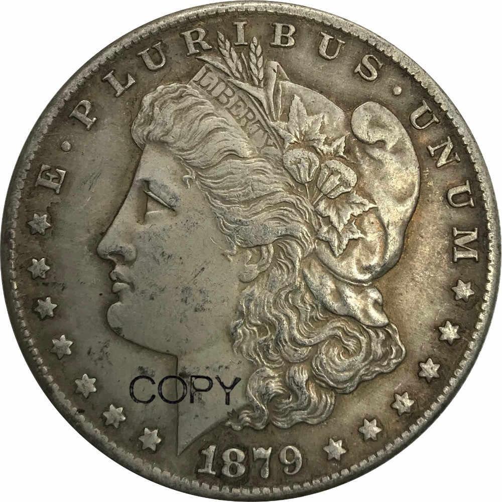 1879 s Desatados Unidos da América 1 One Dollar Morgan Dólar Cupronickel Prateado Copiar Moedas