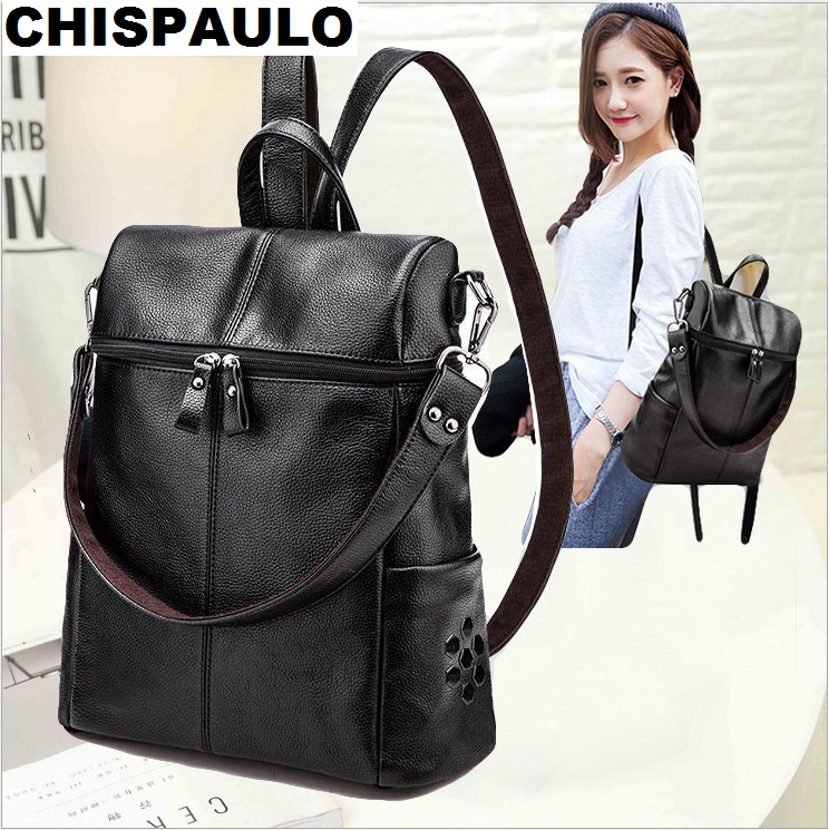 Designe Women's Backpacks Genuine Leather Female Backpack Women Schoolbag For Girls Large Capacity Shoulder Travel Mochila N036 kundui fashion designe women backpack genuine leather female backpacks schoolbag girls large capacity shoulder travel book bag