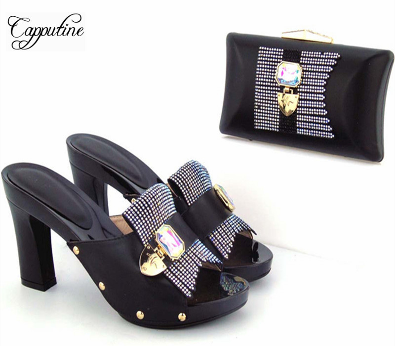Capputine Nice Design Italian Ladies Shoes And Matching Bags Latest African PU Leather Women Shoes And Bags Set For Sale