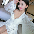 summer Sets Fun pajamas Coat Robe women Sexy perspective Flowers printed lace Deep V-neck Sexy Sling mini skirt Chest pad