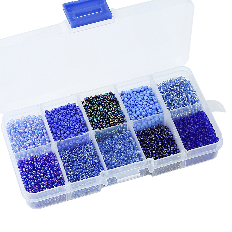 One Box 10 Colors Mixed 2MM Czech Glass Beads Austria Crystal Seed Round Hole Spacer Beads For Kids DIY Jewelry Making free shipping 2500pcs mixed colors mixed sizes no hole round pearls no hole imitation beads craft pearl beads jewelry pearls