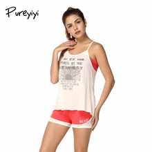Pureyiyi Women Workout Tracksuits Clothes Tank Top and Shorts Set Summer Elastic Vest Top Shorts Sets