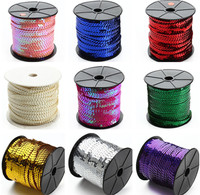 100 Yards 6mm Sequin Trim Ribbon On A String In Colorful AA8305