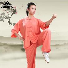 Chinese Fighting style 3 Quarter Sleeve Tai chi clothing uniform kungfu outfit Moring exercise suit for women girl Top + Pants