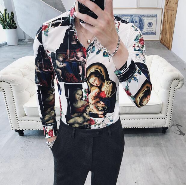 Men Shirt Printing Gold Black White Long Sleeve Camisa Masculina Chemise Homme