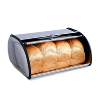New Arrival High Quality Stainless Steel Roll Top Bread Box Storage Bin Keeper Food Container Kitchen 460692