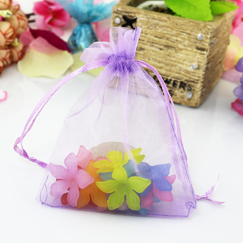 100pcslot Light Purple Organza Bags 15x20cm Wedding Jewelry Candy Gifts Packaging Bag Cute Organza Pouches Drawstring Gift Bags