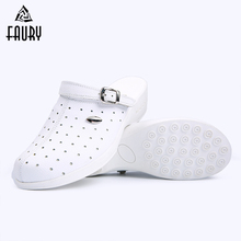 2018 Medical Shoes Genuine Leather Nurse Comfortable Doctor Work White Color Women Slipper High Quality