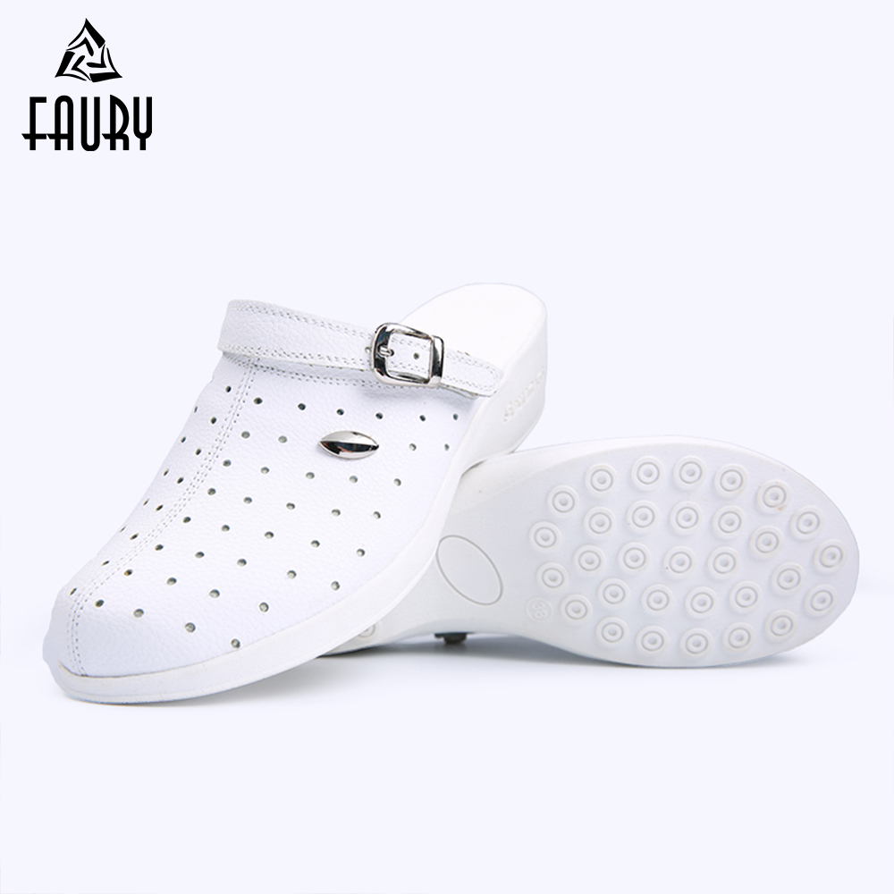 2018 Medical Shoes Genuine Leather Nurse Shoes Comfortable Doctor Nurse Work Shoes White Color Women Doctor Slipper High Quality