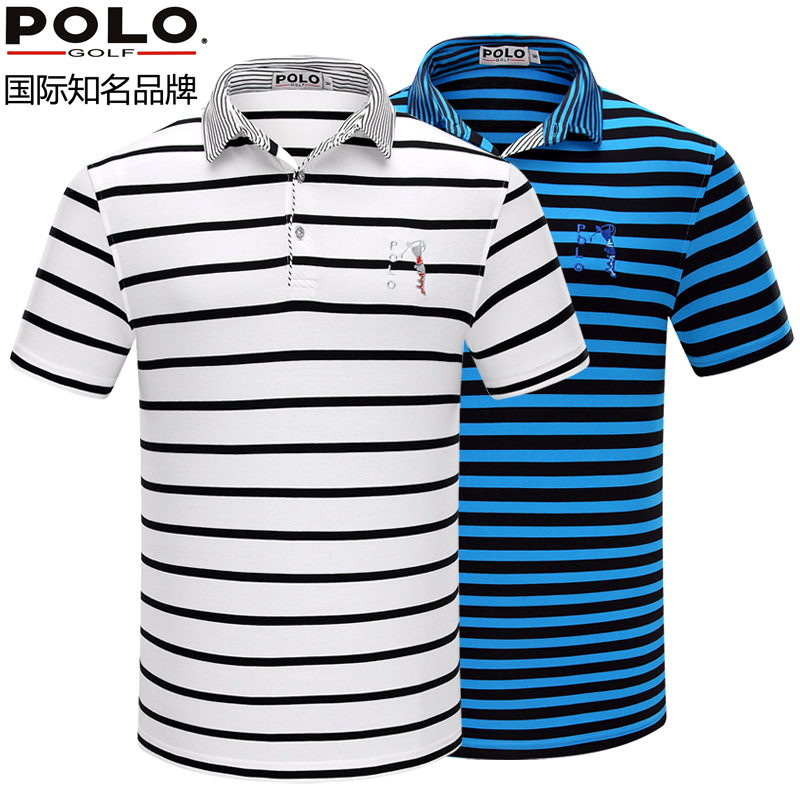 Polo Golf Shirt Wear Short Sleeved T-shirt Mens Sportswear Golf Striped tshirt
