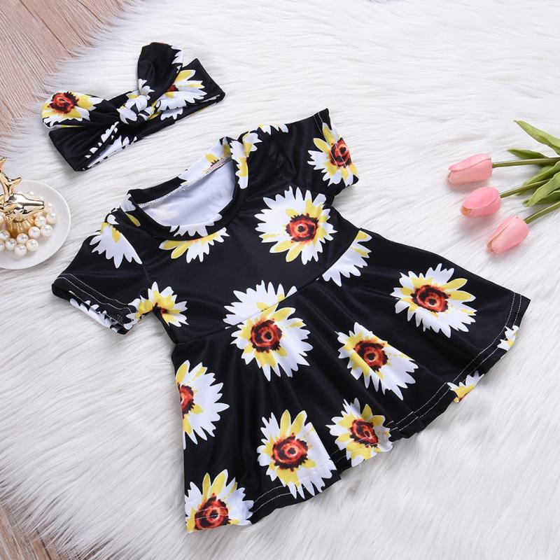 Floral Newborn Baby Dress 2018 Autumn Spring short Sleeve Princess Girl Party Dresses Headband 2pcs Outfit Clothes 0-24M