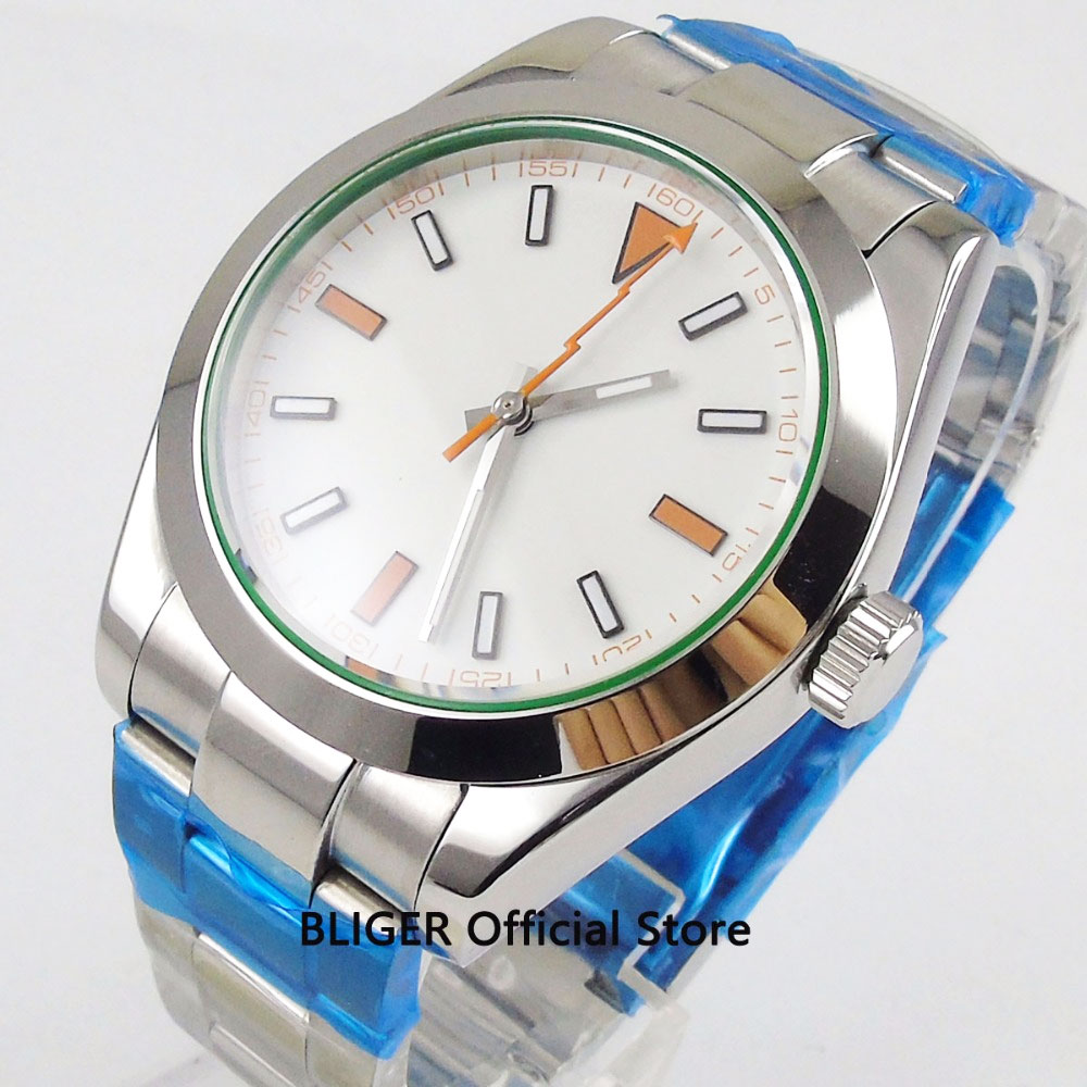 Saphir cristal 40 MM blanc stérile cadran poli boîtier marques lumineuses Flash pointeur automatique mouvement montre pour hommes P-11