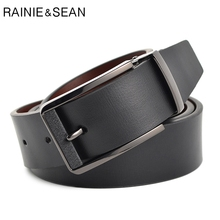 RAINIE SEAN Pin Buckle Belt Men Top Quality Genuine Luxury Leather Belts Black Fashion Casual Male Cow Leather Belt For Trousers hot sale 2015 elegant casual belts for men women top quality male belt luxury fashion pu leather belts unisex accessories 2pu1 2