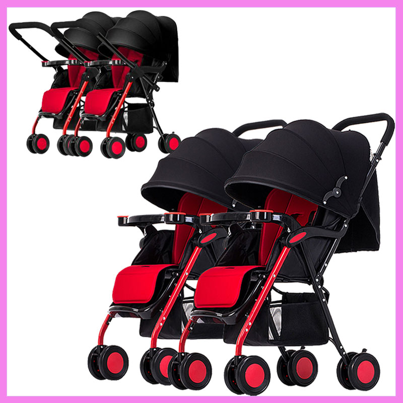 Twins Baby Stroller Double Carts Multiple Stroller Lightweight Four Wheels Stroller Baby Pram Pushchair Can Sit Lie Split Two